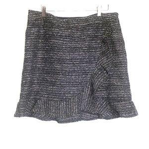 NANETTE LEPORE • Tweed Black Ruffle Skirt